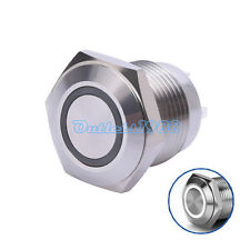 16mm 3V White LED Round Metal Momentary Push Button Switch 1NO with Resistor 12V