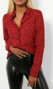 New Stunning Red Leopard New Look Size 14 Blouse
