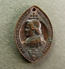 French Antique Religious Copper Pendant Cardinal Gousset Reims Medal by Allart