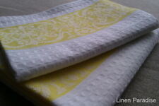 Pair Of 100% LINEN WAFFLE Weave Guest TOWELS European Flax Damask Pattern