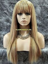 Human Hair Blend Layered Straight Bangs Blonde Mix Full Wig Heat Ok Hair Piece