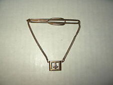 Vintage Goldtone Or GF Signed SWANK Masonic Freemason Compass Tie Clip & Chain