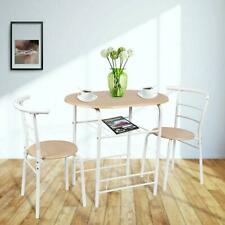 3-piece Metal Wood Dining Set - Natural/white Includes 1 Table And 2 Chairs