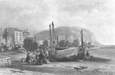 East Sussex, HASTINGS BEACH SHORE SAILBOAT TOWN SHOPS ~ 1840 Art Print Engraving