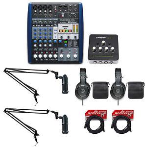 Presonus+Audio Technica Podcast Studio Bundle w/Mixer+(2) Mics+Headphones+Booms