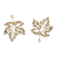 30X Golden Color Pendant Charms Alloy Hollowed Maple Leaf Jewelry Findings 39729