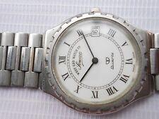 Rare Vintage SS ROMAN DIAL Westend Watch Sower Prima Date Quartz Mens WristWatch