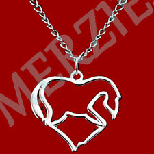 "MERZIEs necklace heart HORSE equine animal sp 20"" chain pendant - SHIPs from USA"