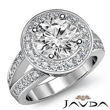 Halo Pave Round Diamond Gorgeous Engagement Ring GIA F VS1 18k White Gold 2.17ct