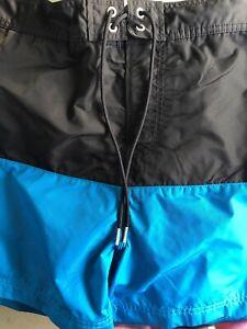 Nautica Mens Size L Swim Suit Black / Turquise Lined Hook&Loop Closure