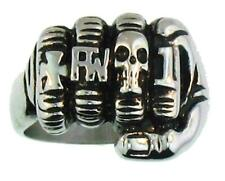 DELUXE HAND FIST WITH RINGS BIKER RING #BR89 MEN WOMEN jewelry SILVER CROSS FTW