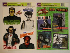 1998 Universal Studios Monsters Color Clings / Stickers - 2 Sheets - NEW Dracula