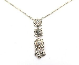 .Beautiful Ornate Sterling Silver & Cubic Zirconia Cascading Necklace 8.1g