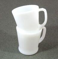 2 Anchor Hocking Fire King Milk Glass D Handle Coffee Tea Cups Mugs EUC