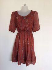 MINA UK Floral Print Short Sleeve Mini Tunic Dress - S/M