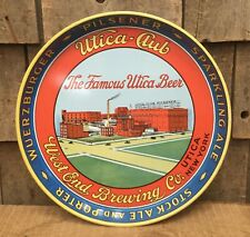 Vintage UTICA CLUB NY Beer Stock Ale Porter Advertising Brewery Tin Tray Sign