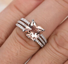 8mm Princess Cut Morganite Wedding Diamond Trio Ring Set Solid 14K White Gold 5#