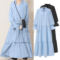 Womens Long Sleeve V Neck Casual Loose Flare A Line Tiered Maxi Dress Plus Size