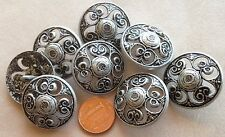 "8 Large Domed Pierced Matte Silver Tone Metal Shank Buttons 1 1/8"" 28mm # 7372"