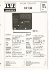 ITT Schaub-Lorenz RC-1001 mit 18 Seiten Original  Schaltplan Manual 1974 rc1001