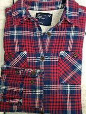 American Eagle Girls Red/ Blue/White  Flannel Shirt  Cotton Long Sleeve Sz 10 M