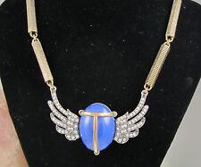 Vintage Huge Oscar De La Renta Goldtone Rhinestone Blue Winged SCARAB Necklace