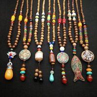 Vintage Necklace Bohemian Pendants Wood Statement Ethnic Beaded Chain Handmade