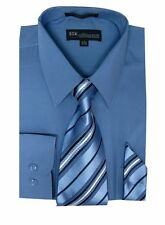 Men's Cotton Blend Classic Solid Dress Shirt with Tie and Handkerchief 27 colors