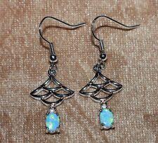 fire opal Cz earrings gemstone silver jewelry Japanese Fan cocktail drop dangle