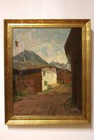 Gemälde Bauernhaus im Bergtal von Hans Härdtlein