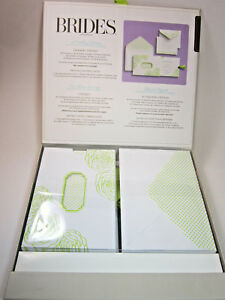 BRIDES Deluxe Wedding Invitation Kit  White and Lime Green Flowers, 180 pc kit