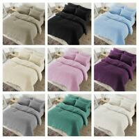 Single Double Kingsize Soft Snug Teddy Fleece Duvet Set with Pillow Case Bedding