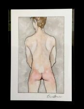 Nude Bottom Boy Watercolor Signed