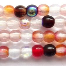 100 Czech Druk Round beads 4mm Strawberry