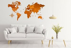 """One Layered Wall Wooden World Map sz XL (95""""x 60"""") with Country Names Oak Color"""