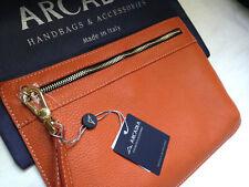 NWT Arcadia Gorgeous Italian Pebbled Leather Orange Purse Wristlet Bag 1596 $140
