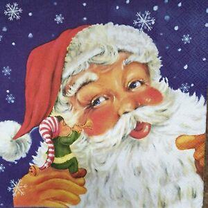 4 Lunch Paper Napkins Serviettes Decoupage Napkins - Santa & little Elf