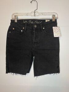 NWT FREE PEOPLE Black Ash Denim Cutoff Jean Shorts Button Fly Size 25 NEW