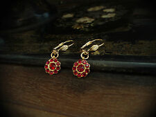 Vintage Ruby Red Crystal Round Drop Pierced Earrings