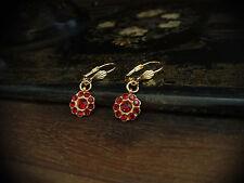 Vintage Ruby Red Crystal Round Drop Pierced Earrings