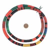 Multicolor Vintage Vinyl Phono Record Beads 10mm Ghana African Disk As Shown
