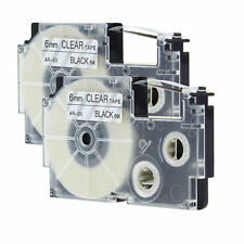Compatible for Casio XR-6X Black on Clear 1/4'' Label Tapes KL-60 XR-6X1 2pk