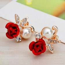Women Elegant Crystal Butterfly Pearl Rose Flower Ear Stud Earrings Clip Jewelry