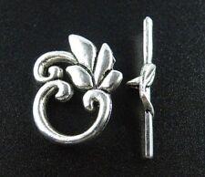 60sets Tibetan Silver Pretty Flower Toggle Clasps 23.5x19x2mm 676