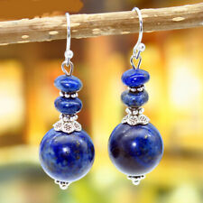 Fashion Women Vintage Lapis lazuli Round beads Dangle Earrings Jewelry Gift