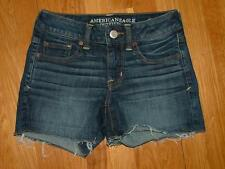"AE American Eagle dark denim jean shortie shorts Too Cute!! 2 x 4"" GR8 Condition"