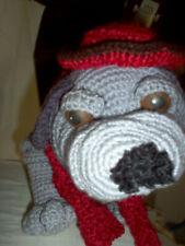 "Amigurumi crochet Mastiff puppy, gray, 16"" long"