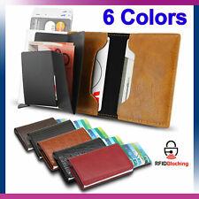 Кожаный держатель для кредитных карт мужские деньги наличные бумажник зажим радиочастотная идентификация блокировка кошелек