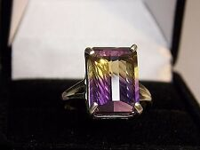 6.97CT REAL purple gold AMETRINE Sterling Silver COCKTAIL Ring Size 5 TO13