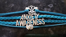 Anxiety Awareness teal leather braid bracelet wrap & butterfly mental awareness
